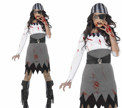 L Da Uomo Zombie Pirata Costume Bucaniere Halloween Costume Vestito Nuovo M