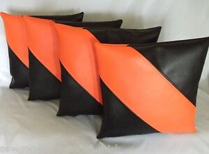 """2 Black /& Cream Striped Faux Leather Cushions 16/"""" 18/"""" /& Filler Pads"""