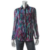 Cupio Purple Multi Printed Chiffon Button-down Long Sleeves Bouse Top S -