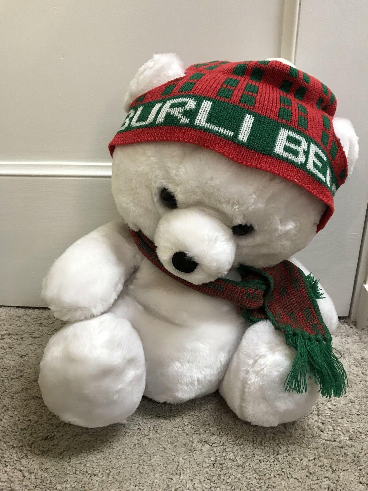 Vintage 17  Prestige Burli Bear White 1986 Hat & Scarf