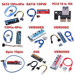 PCI-E-Riser-Card-1x-to-16x-USB-3-0-VER-008C-008S-15PIN-Mining-Extender-Board-LOT