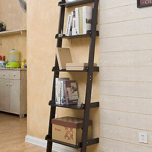5-TIERS-WOODEN-WALL-LEANING-LADDER-SHELF-DISPLAY-UNIT-BOOKCASE-STORAGE-SHELVES