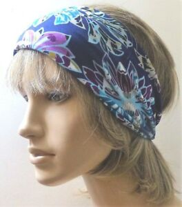 Image is loading FLORAL-PURPLE-CUTE-JERSEY-FABRIC-HANDMADE-HAIR-WRAP- a47493e6ec8