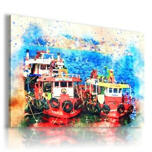 PAINTING BOATS SEA NATURE PRINT Canvas Wall Art R55 MATAGA UNFRAMED-ROLLED
