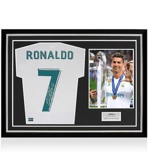 b215815b65f Cristiano Ronaldo Back Signed Real Madrid 2017-18 Home Shirt In Hero ...