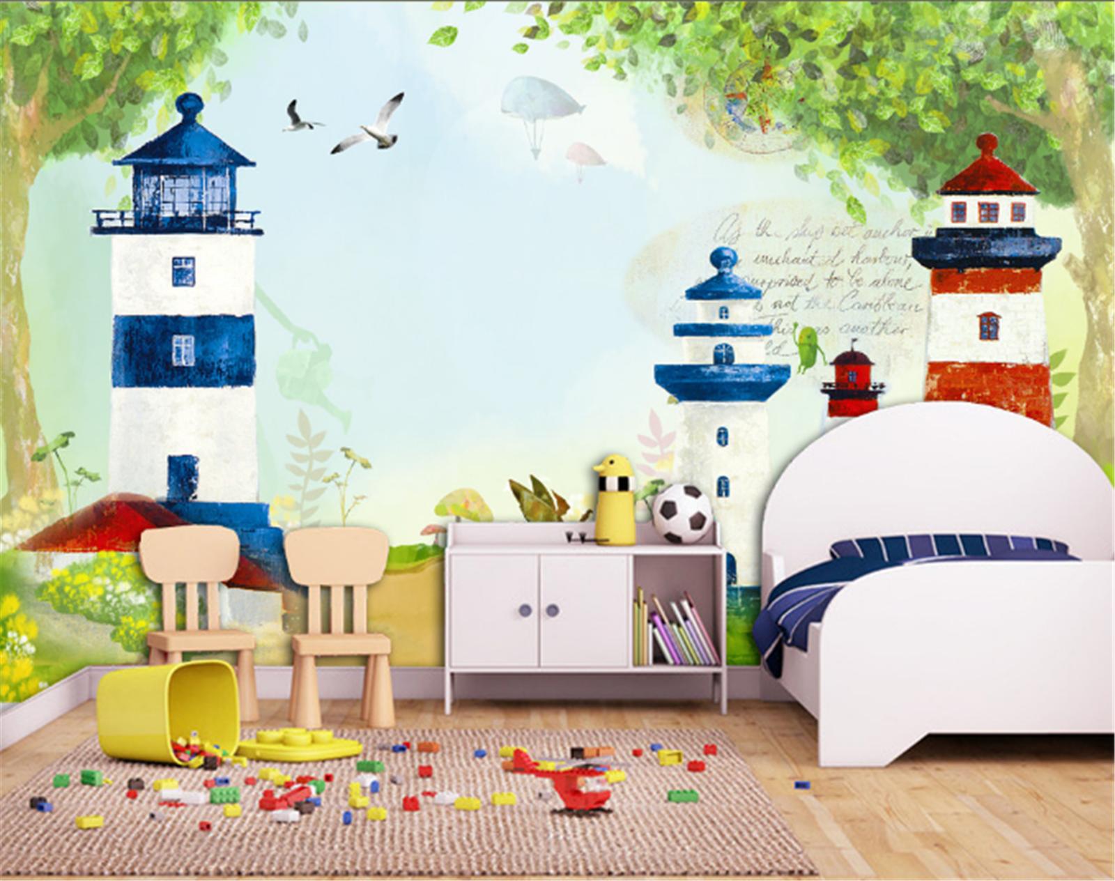 3D Leuchtturm Wälder Kinder 933 Tapete Wandgemälde Tapeten Bild Familie DE Lemon