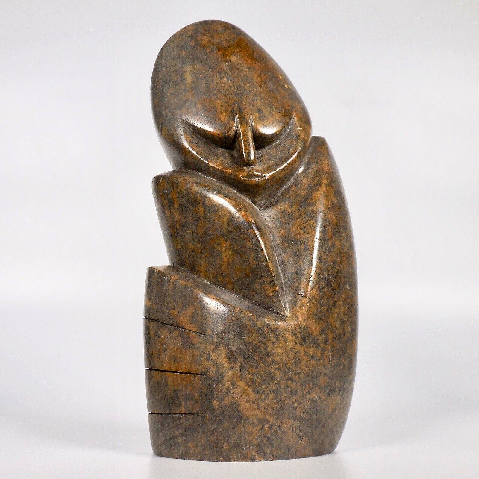 African Soapstone Carved Thinker Sculpture Kenya