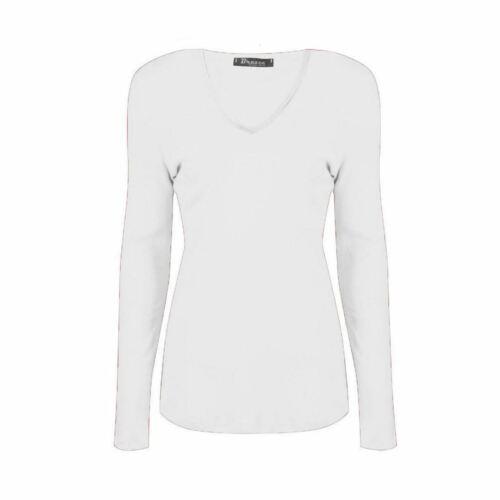 Ladies Plain V Neck Long Sleeve Casual Basic Top Womens Summer T-Shirt Plus Size
