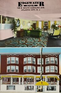 1939+ Postcard Edgewater Hotel Atlantic City New Jersey Exterior & Lobby