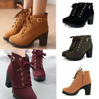 Sexy Women Ankle Boots Platform Thick High Heels Round Toe Lace-Up Strappy Shoes
