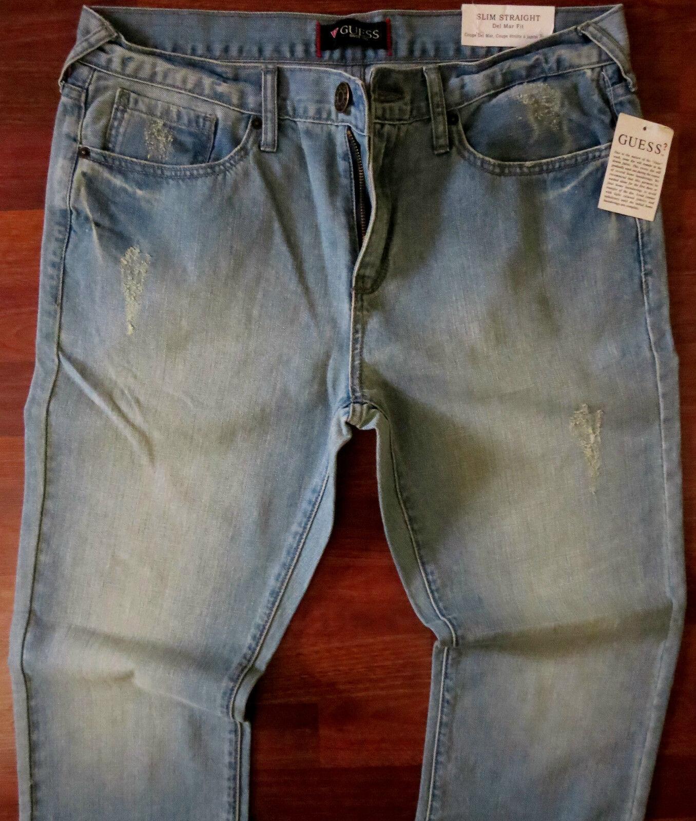989cfc01 Guess Slim Straight Leg Jeans Men Size 29 X 30 Vintage Distressed Light  Wash NEW