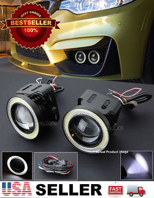 """3/"""" White DRL COB LED Halo Ring Projector Fog Light Lamp w// Wire For VW Porsche"""