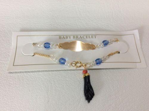 "14k Gold Filled Azabache Bracelet for Baby 5,5/"" MANO De Azabach Evil eye protect"