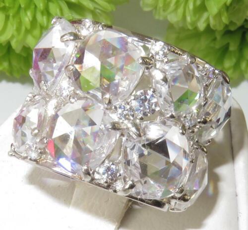 S767 de ancho de banda de plata de ley piedra Simulada Diamante Anillo Ring todo Talla N