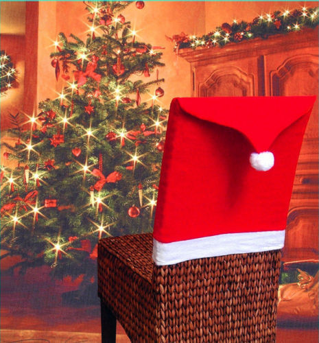 Xmas Santa Clause Red Hat Chair Back Cover Christmas Dinner Table Party Decor