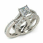 18K WHITE GOLD FILLED DOUBLE RING SET WITH LARGE WHITE SQUARE TOPAZ SIZE T 1/2