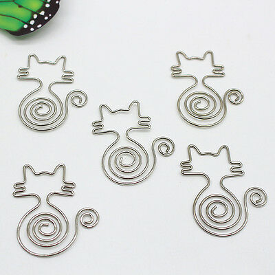 5pcs Metal Cute Cat Bookmarks Wire Art Paperclip School Office Stationery Kits