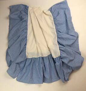 Pottery Barn Kids Blue White Gingham Check Crib Bed Skirt