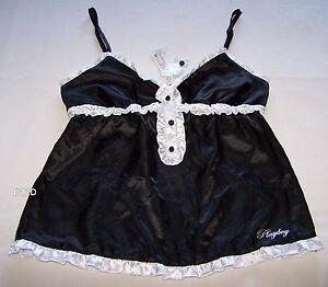Playboy-Ladies-Estelle-Black-White-Satin-Camisole-Size-12-New