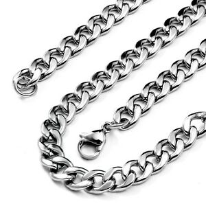 20-039-039-Inch-Polished-Stainless-Steel-Link-Necklace-Curb-Cuban-Chain-for-Men-Silver