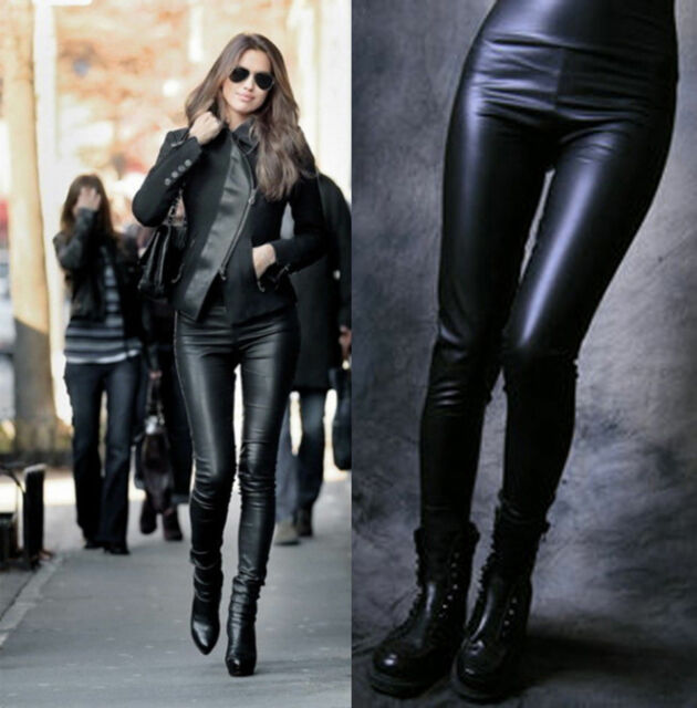High Waisted Women's Faux Leather Stretch Skinny Pants Leggings