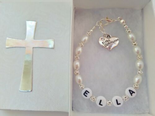 Girls Holy Communion Bracelet with ANY NAME  Religious Childrens Jewellery Gifts
