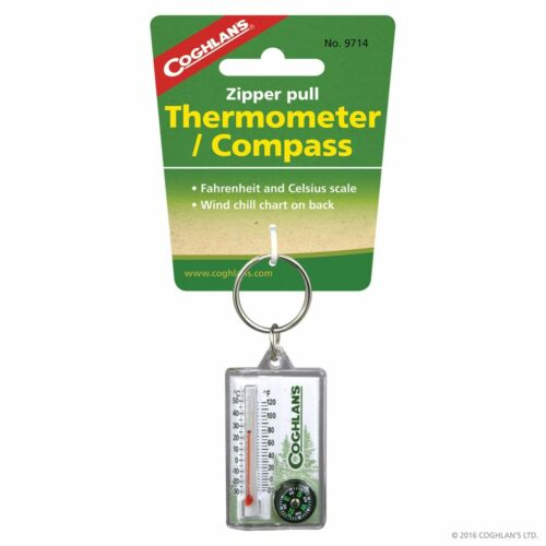 Compass Coghlans Zipper Pull Thermometer Fahrenheit /& Celsius scale Coghlan/'s