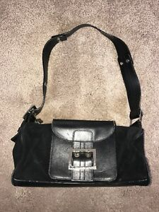 Image Is Loading Vintage Versace Handbag Black Leather Amp Suede Shoulder