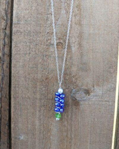 Handmade Texas Bluebonnet Silver Wire Necklace /& Earring Set lightweight Durable