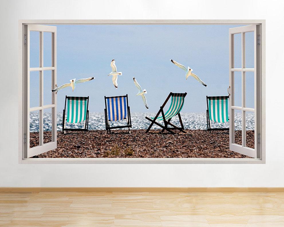 C939 Seagulls oiseaux plage Mer fenêtre mu Autocollant Chambre 3D Vinyle enfants