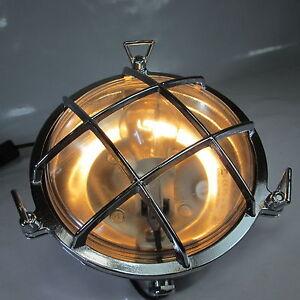 Schiffslampe Maschinenraumlampe Messing Verchromt Wandlampe Kajüten Lampe