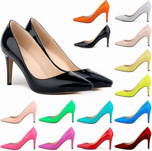 b9fd30b3e743 15 Colors Women 8cm High Heels Office Solid PU Stilettos Pumps Shoes ...