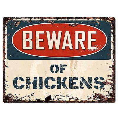 PP-0968 Beware of CHICKENS Chic Sign Vintage Retro Rustic 9x12 Metal Plate Store Home Room Wall Decoration