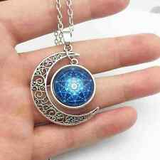 ARCHANGEL METATRONS CUBE SACRED GEOMETRY MOON PICTURE AMULET NECKLACE + POUCH