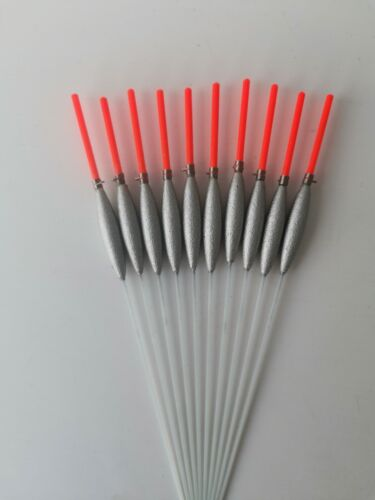 10 X slim Pole Floats Glass stem 0.3g Silicon Included 2mm tip strong handmade
