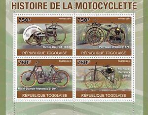 History of motorcycles classic motorcycle m/s Togo 2010 Mi. 3754-57 #TG10408a - Olsztyn, Polska - History of motorcycles classic motorcycle m/s Togo 2010 Mi. 3754-57 #TG10408a - Olsztyn, Polska