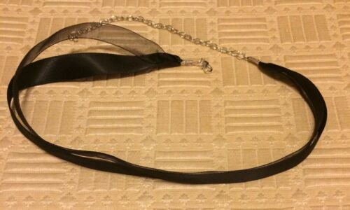 "20/"" BLACK SATIN SHEER ORGANZA RIBBON THICK CHOKER NECKLACE COLLAR 5//8/"" WIDE 15/"""