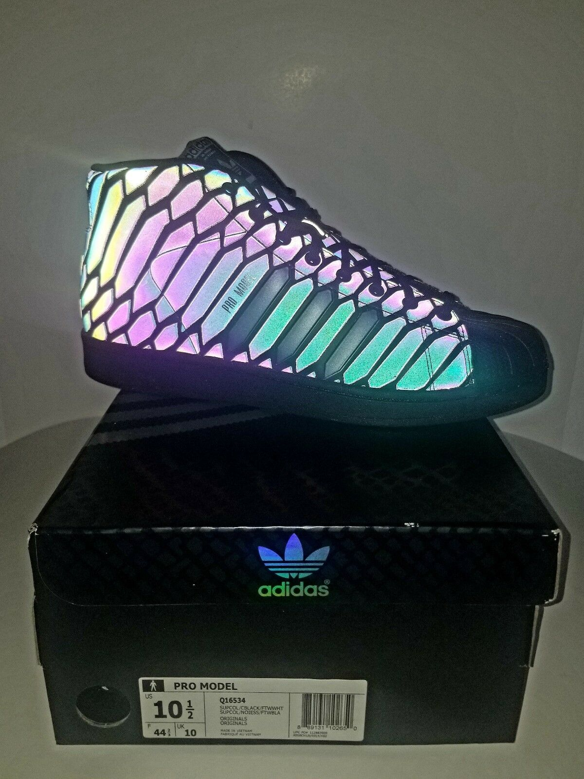 Adidas xeno - pro - modell mens größe 10,5 10,5 größe reflektierenden turnschuhe q16534 schlangenhaut 9723c1