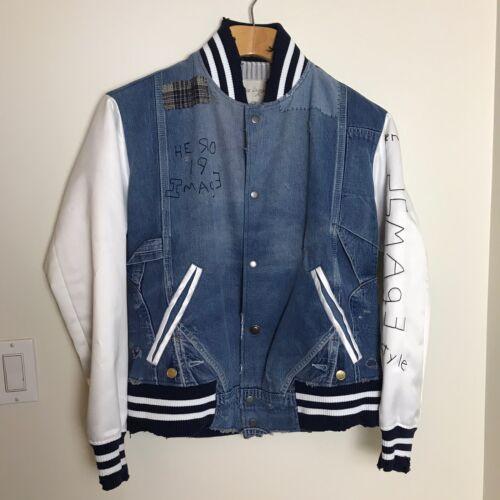 GREG LAUREN Men's Denim & Satin Varsity Jacket 2