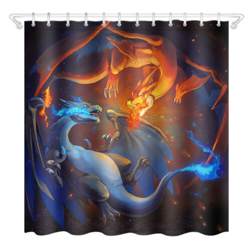 Bath Polyester Waterproof Shower Curtain-Pokemon Dragon 3485-Mat+12Hook 72//79/""