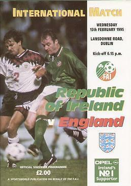 1995 REPUBLIC OF IRELAND v ENGLAND ABANDONED RARE
