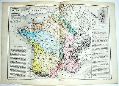 Antique Physical Map of France by Drioux & Leroy Paris 1884 Original