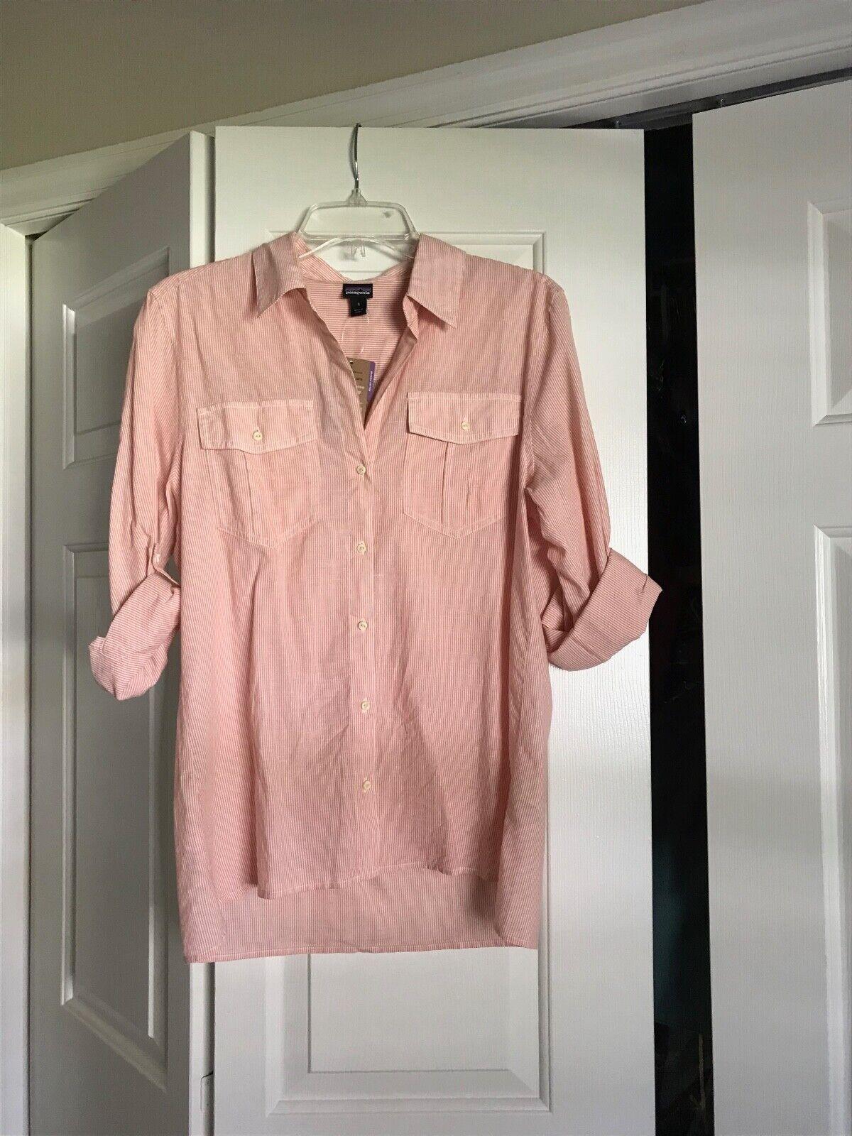 NWT Patagonia OrganIc Lightweight Buttondown Coral Thin Stripe Shirt in Größe S