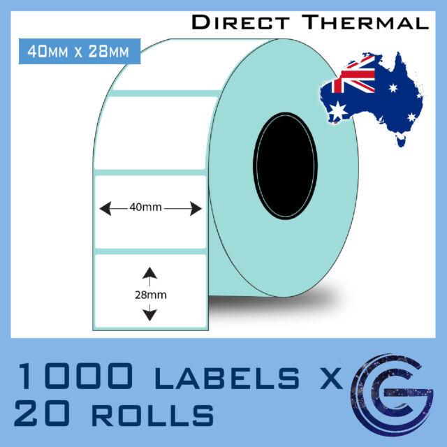 40 x 28 mm 20000 pcs for Zebra, TSC, Datamax Barcode Label Roll Sticker Labels