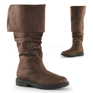 Brown-Mens-Over-the-Knee-Renaissance-Faire-Pirate-Costume-Boots-size-8-9-10-11