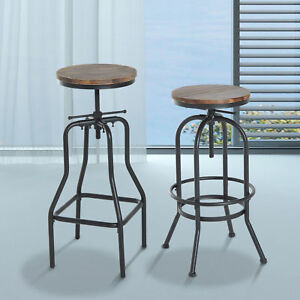 Super Details About Vintage Bar Stool Metal Wooden Industrial Retro Seat Kitchen Adjustable Height Pabps2019 Chair Design Images Pabps2019Com