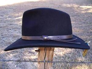 NEW Scala Hats RAIN PROOF CRUSHABLE Black Wool Fedora Outback Cowboy ... c28fd0a43c8