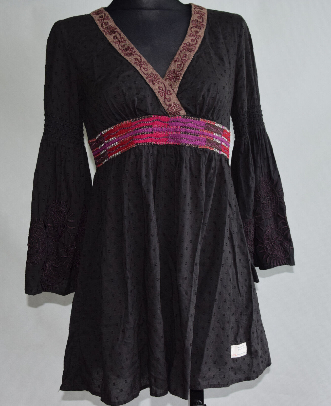 ODD MOLLY dress tunic schwarz 100% cotton FOLK HIPPIE BOHO embroiderot S small