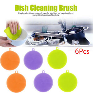 3-6Pc-Silicone-Dish-Washing-Sponge-Scrubber-Kitchen-Cleaning-Antibacterial-Tool