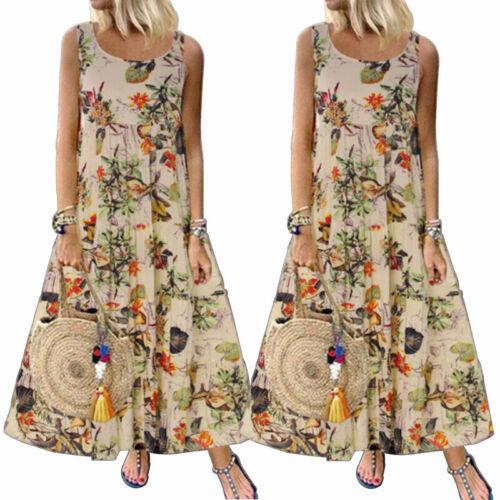 Women Plus Size Loose Casual Short Sleeve Boho Retro Linen Print Long Maxi Dress